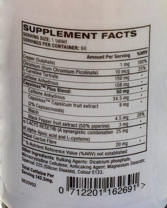 Liste ingrédients PhenQ